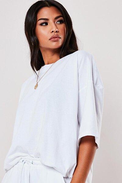 Kadın Beyaz Oversize Boyfriend T-shirt