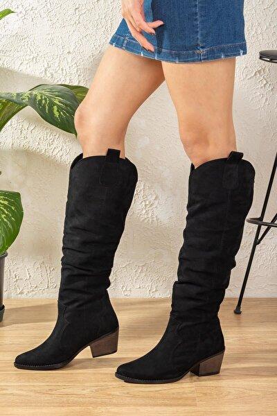 Julle Kadın Çizme Süet-siyah