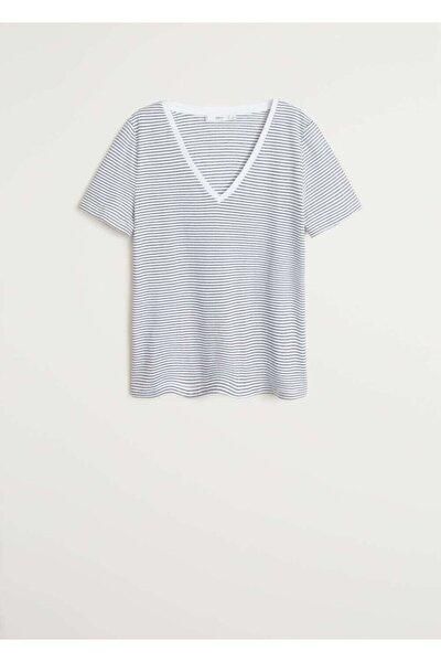 Kadın Kırık Beyaz V Yakalı Pamuklu Tişört 67084384