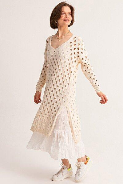 Kadın Krem Astarlı Ajurlu Triko Elbise