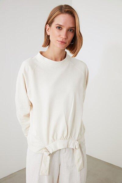 Ekru Bel Detaylı Örme Sweatshirt TWOAW21SW1419