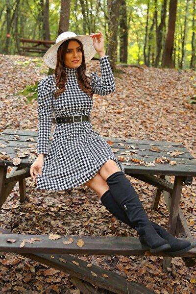 Kadın Beyaz Yarım Balıkçı Kol ve Kemer Detaylı Kışlık Elbise Nb7156