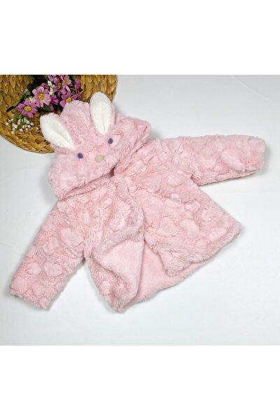 Kız Bebek Pudra Dandini Peluşlu Kulaklı Tavşan Kapşonlu Mont