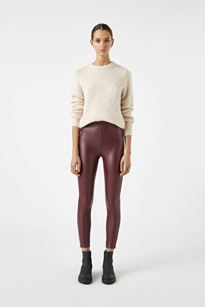 Suni Deri Skinny Fit Pantolon