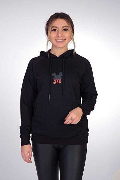 Kadın Siyah Mikey Mouse Sweatshirt