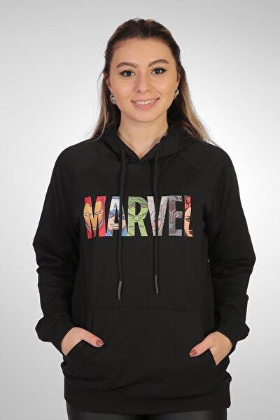 Kadın Siyah Marvel Sweatshirt
