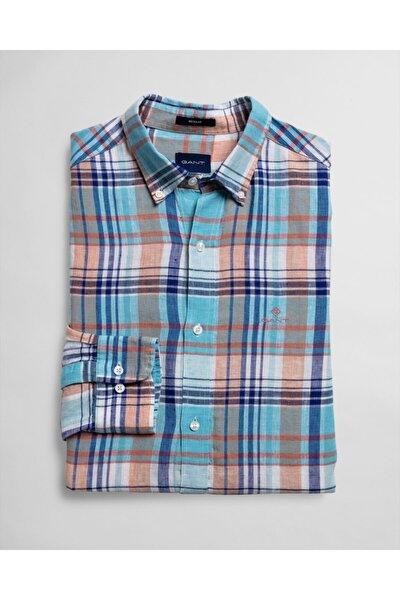 Erkek Mavi Kareli Regular Fit Gömlek