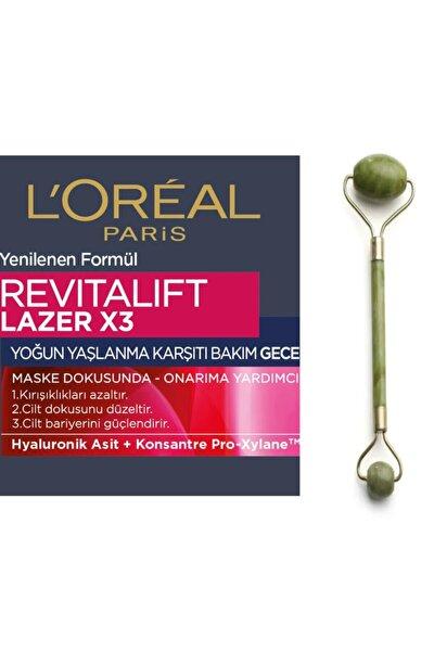 Yaşlanma Karşıtı Gece Kremi - Dermo Expertise Revitalift Laser X3 50 Ml + Yeşimtaşı Masaj Aleti