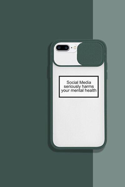 Iphone 8 Plus Kamera Lens Koruyucu Sosyal Medya Desenli Telefon Kılıfı