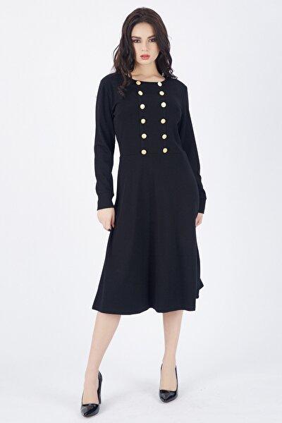 Elbise Ön Çift Sıra Metal Düğmeli Uzun Elbise   Elb32940 Siyah