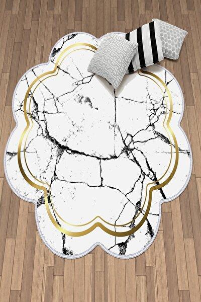 Dekoratif Yıkanabilir Kaymaz Deri Tabanlı Lazer Kesim Salon Halısı