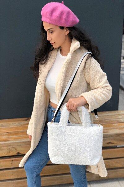 Kadın Beyaz Peluş Askılı Çanta