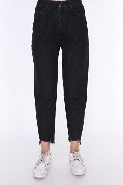 Kadın Siyah Mom Style Paça Püskül Detay Jean