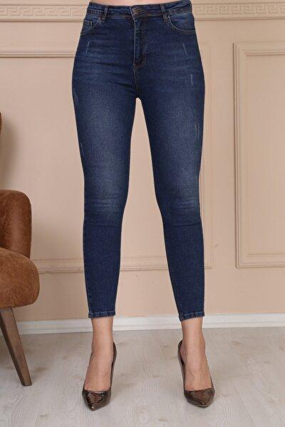 Kadın Koyu Mavi Ön Tırnak Detay Jean