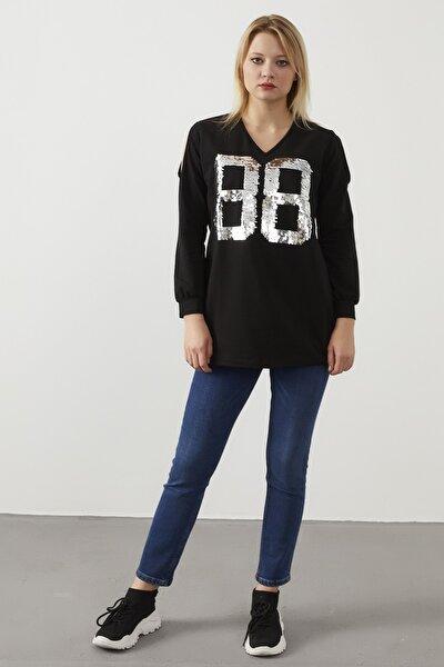 Kadın Siyah  V Yaka Omuz Dekolteli Payetli Tunik Bluz