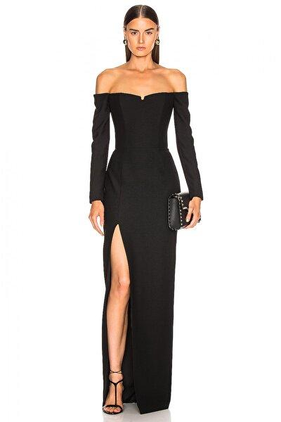 Kadın Siyah Derin Yırtmaçlı Düşük Omuz Maxi Elbise 4574101