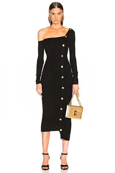 Kadın Siyah Düğme Detaylı Tek Omuz Elbise 4500616