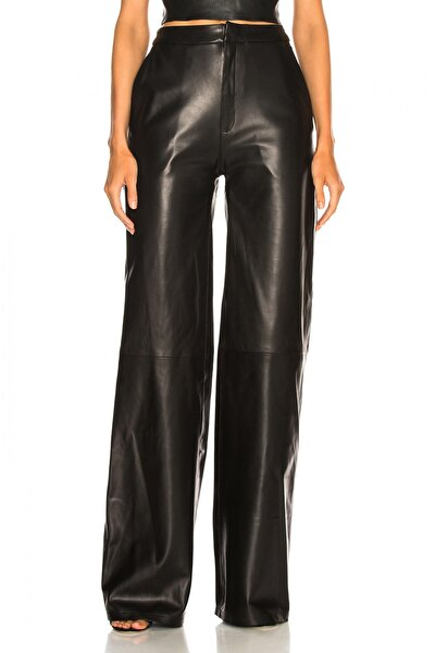 Kadın Siyah Geniş Paça Deri Pantolon 2713737