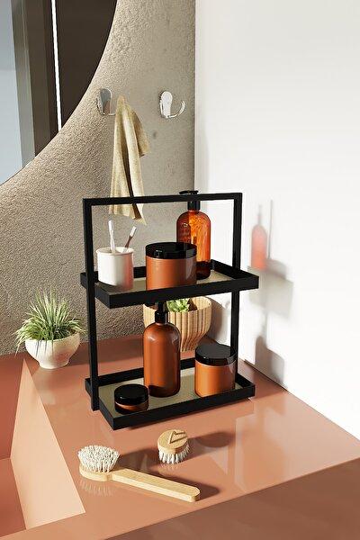 İki Katlı Dikdörtgen Krem Deri Mutfak Takı Makyaj Banyo Düzenleyici Organizer 35 cm