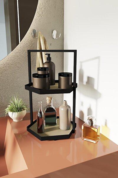 İki Katlı Altıgen Krem Deri Makyaj Takı Mutfak Banyo Düzenleyici Organizer 40 cm