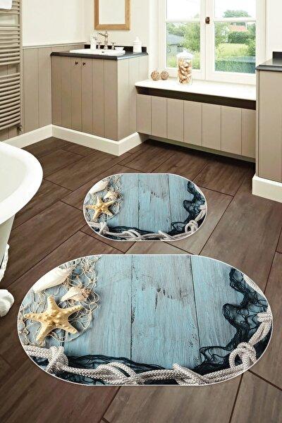 60x90 - 50x60 Dijital Banyo Halısı Oval Klozet Takımı 2'li Paspas Seti