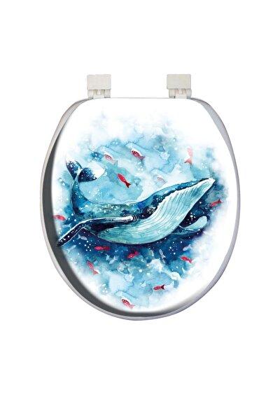 Classic Desenli Yumuşak Klozet Kapağı Mavi Balina