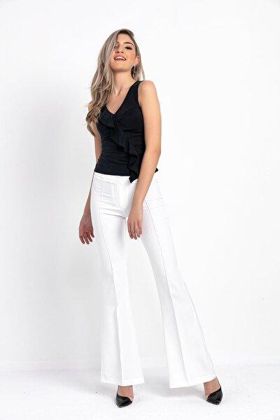 Kadın Beyaz Ispanyol Paça Kumaş Pantolon