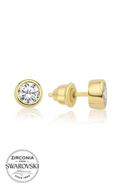 1 Karat Swarovski Zirkon Beyaz Yuvarlak Taşlı, Altın Reng Gümüş Küpe
