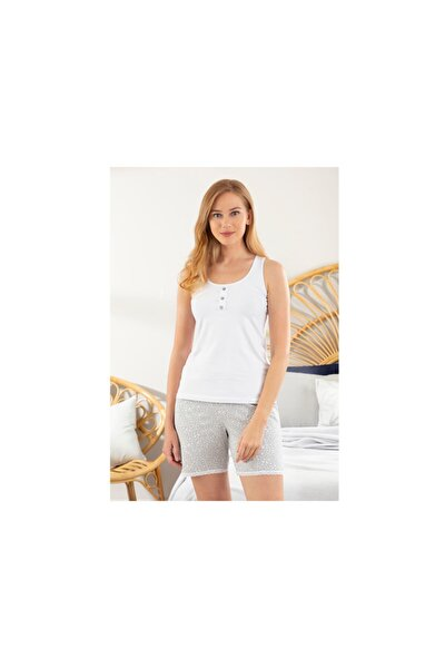 Blooming Beauty Full Lyc Süprem- Pamuk Elastan Pijama Şort Takımı S-M Beyaz - Gri