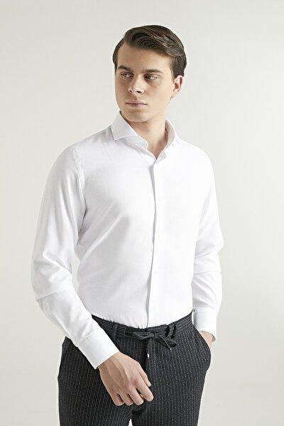 Slim Fit Beyaz Renk Erkek Gömlek 2HF02ORT3185_801