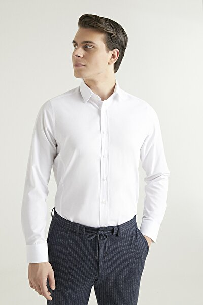 Slim Fit Erkek Beyaz Gömlek