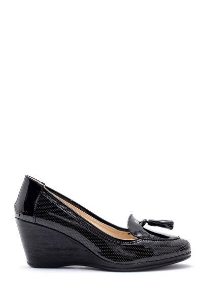 Kadın Siyah Rugan Dolgu Topuklu Ayakkabı