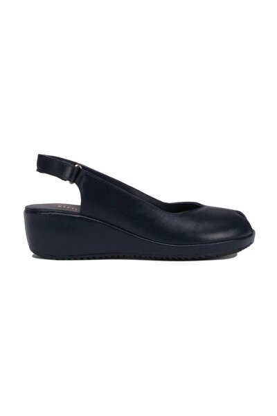 Kadın Mavi Alegre  Deri Anatomik Topuklu Sandalet