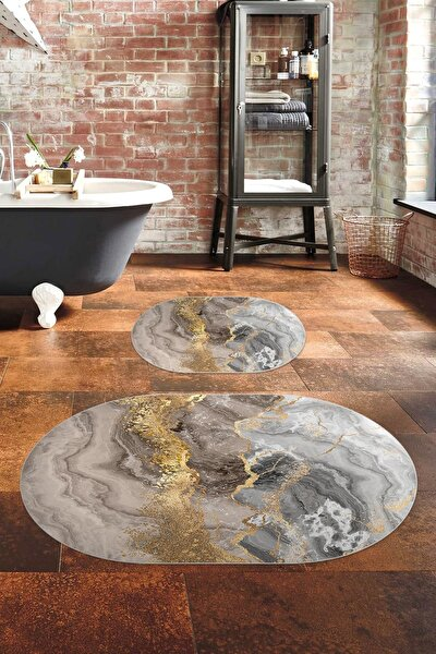 60x90 - 50x60 Marble-4-1 Dijital Banyo Halısı Klozet Takımı 2'li Paspas Seti