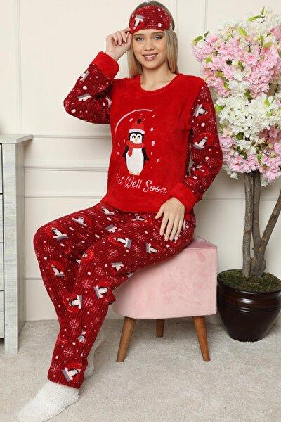 Kırmızı Get Well Soon Desenli Kadın Peluş Pijama Takımı