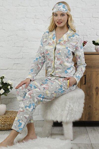 Unicorn Desenli Önden Düğmeli Uzun Kollu Kadın Pijama Takımı