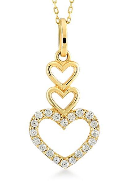 Kadın Altın 14 Ayar Kalpler Kolye