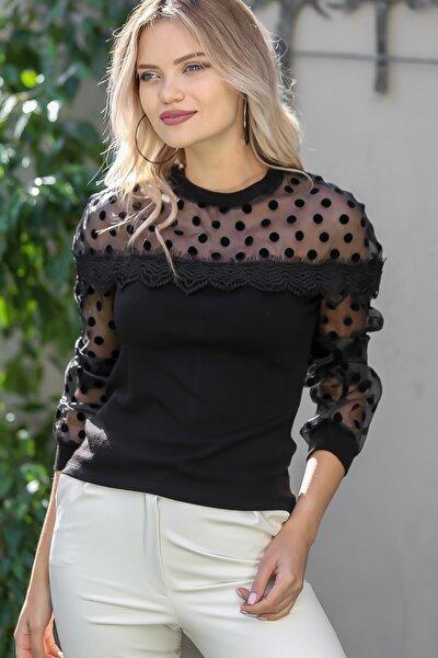 Kadın Siyah Flok Puantiye Roba Ve Kolları Organze Dantel Detaylı Bluz M10010200bl95790