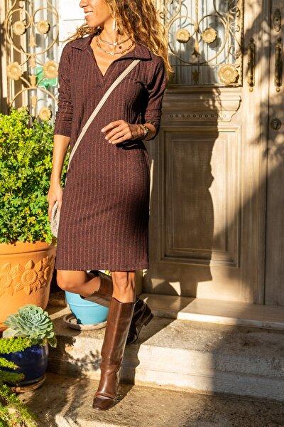Kadın Bordo Polo Yaka Salaş Kendinden Desenli Simli Elbise GK-BST2988