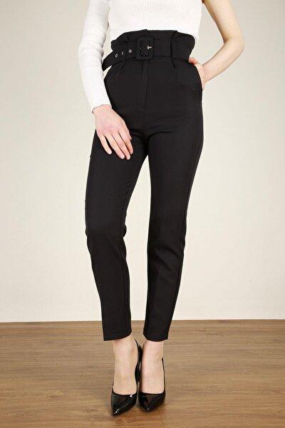 Kadın Siyah Kemerli Yüksek Bel Kumaş Pantolon 6464zgm20