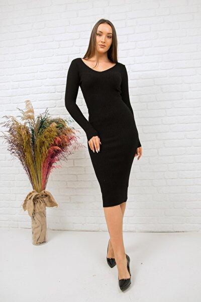 Kadın Siyah V Yaka Yumoş Doku Uzun Triko Kalem Elbise