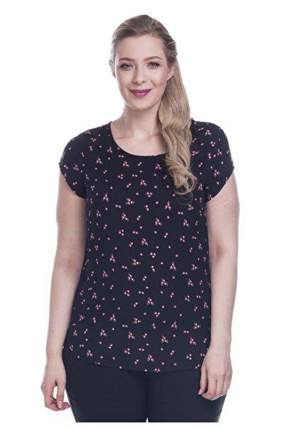 Kadın Siyah Çiçek Desenli Kısa Kol Viskon Bluz