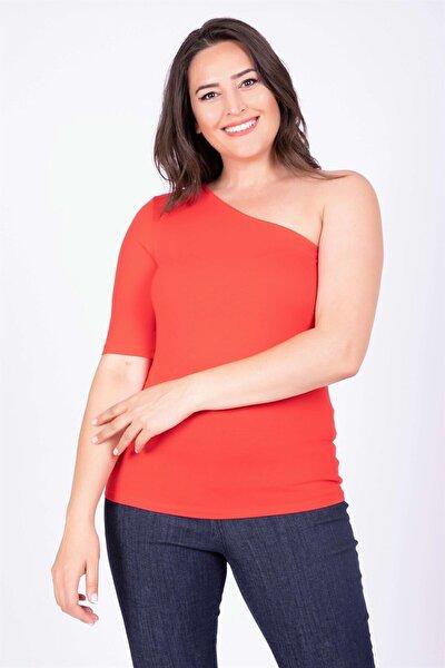 Kadın Kırmızı Tek Kollu Bluz 34811