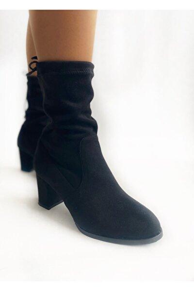 Kadın Siyah Süet Kısa Çorap Çizme
