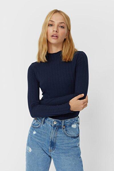 Kadın Lacivert Dalgalı Şeritli T-Shirt 06523157