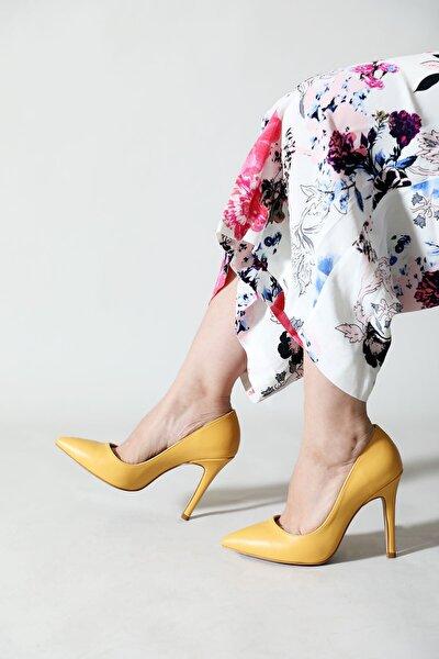 Kadın Sarı Aynalı Ökçe Sivri Stiletto Ayakkabı