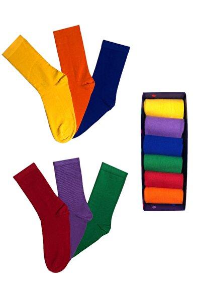 Çok Renkli Çorap Kutusu 6'lı