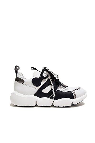 Kadın  Beyaz Çift Bağcıklı Hakiki Deri Spor Ayakkabı