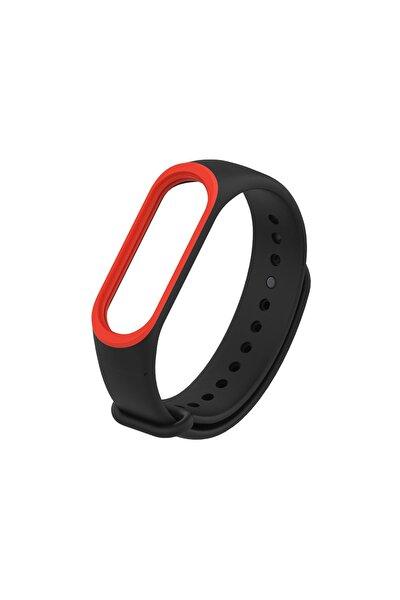 Mi Band 4/3 Akıllı Bileklik Kordon Antialerjik Silikon Siyah-kırmızı
