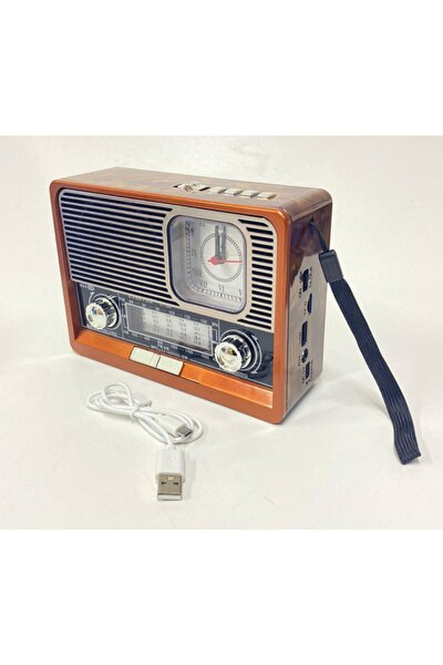 Rt-306 Bluetooth, Usb/sd/aux/fm 8 Band Radyo Saatli Ahşap Nostalji Fenerli Müzik Kutusu Şarjlı
